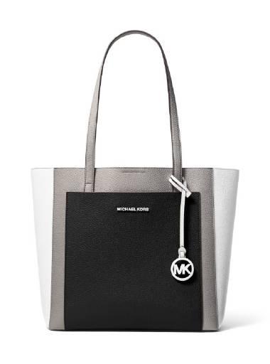 Michael Michael Kors Gemma LG Pocket Tote in Pearl Grey & Black