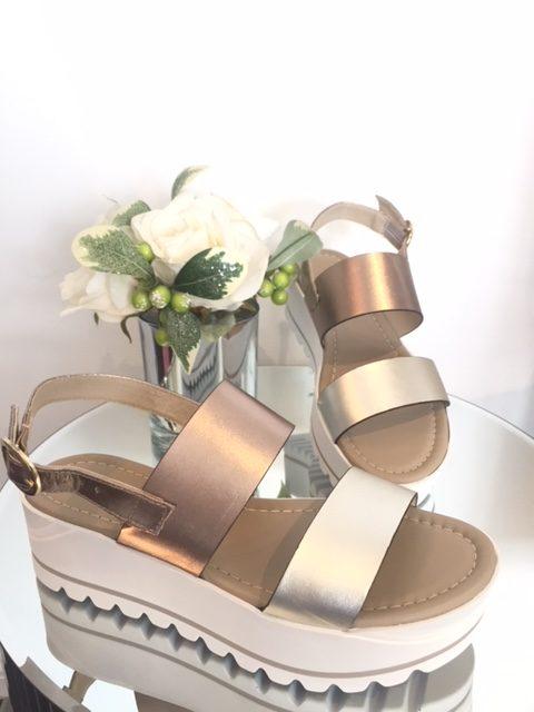 NeroGiardini Bronze Metallic Flatform Sandal