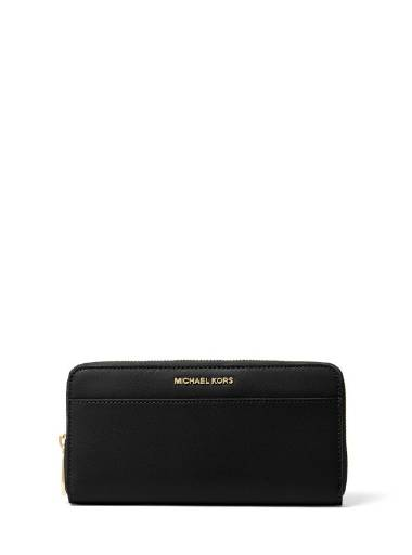 Michael Michael Kors Pocket ZA Continental Wallet in Black Saffiano Leather (Gold Hardware)