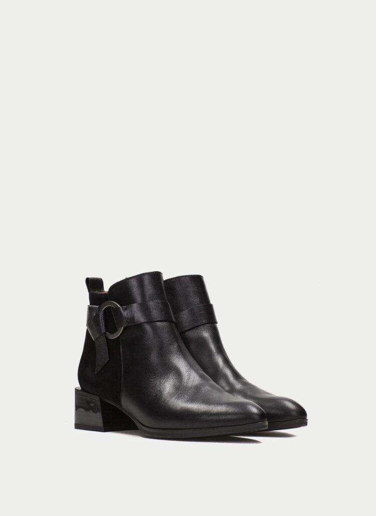 Hispanitas Black Leather Ankle Boots