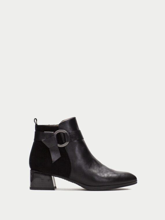 Hispanitas Black Leather Ankle Boots