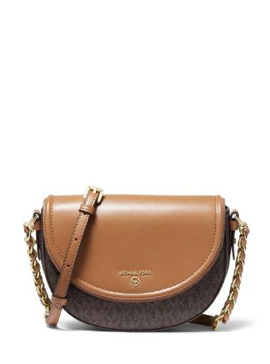 Michael Michael Kors Jet Set Charm Half Dome Crossbody in Brown Logo