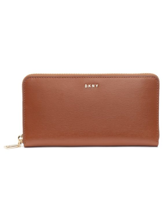 DKNY Bryant Large Zip Around Wallet in Caramel Saffiano Leather