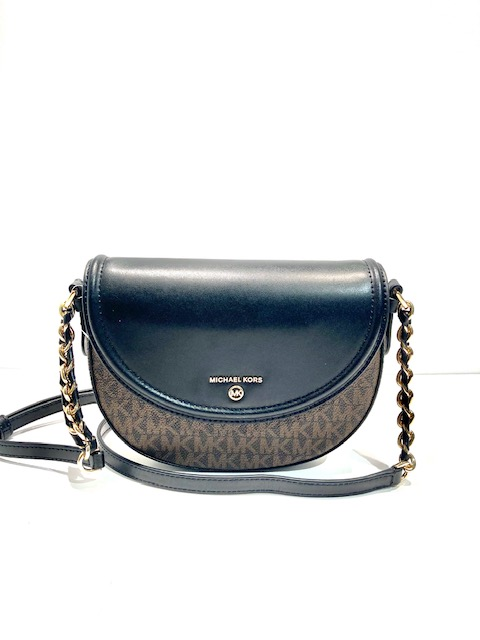 Michael Michael Kors Jet Set Charm Half Dome Crossbody in Brown Logo and Black Leather