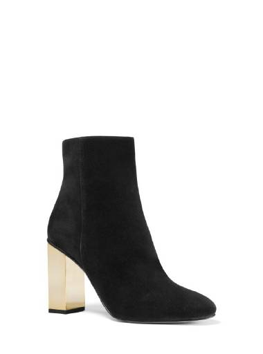 Michael Michael Kors Petra Bootie in Black Suede with Gold Heel