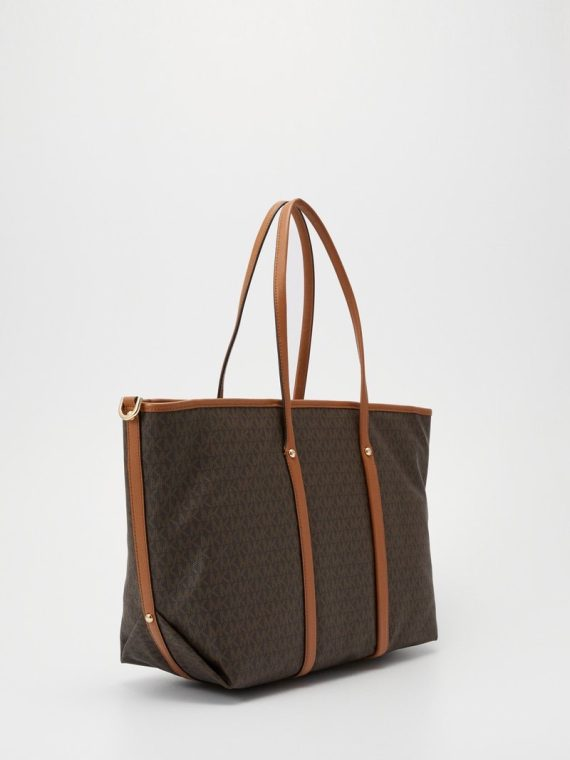 Michael Michael Kors Beck Large Tote Brown Logo/Tan
