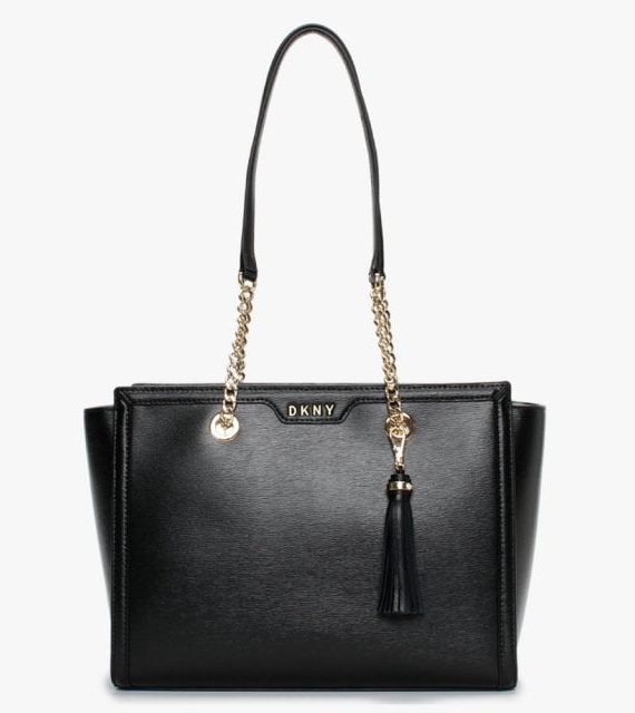 DKNY LG Polly Tote in Black Leather