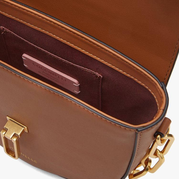 Coccinelle Beat Smooth Chain Saddle Bag Caramel Tan