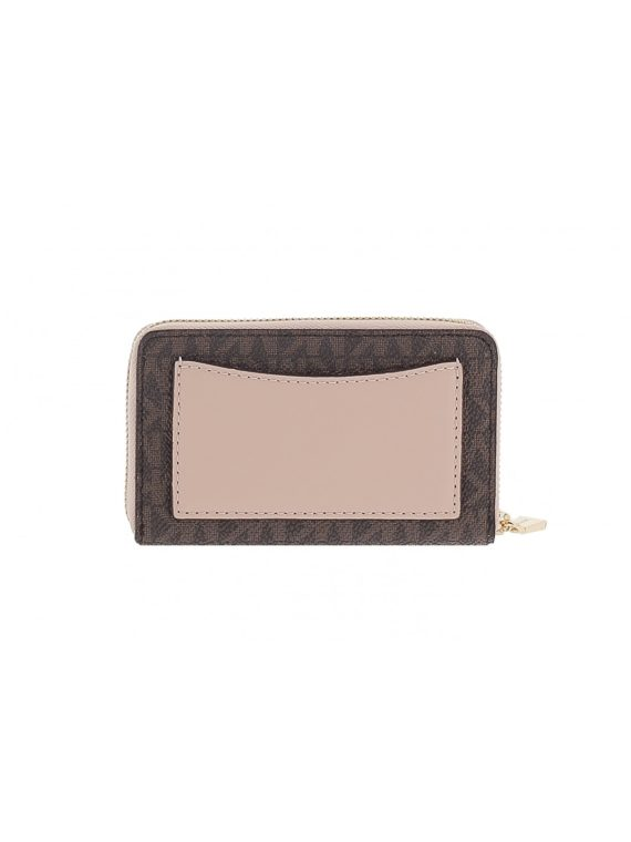 Michael Michael Kors Small ZA Wallet Brown Logo Soft Pink